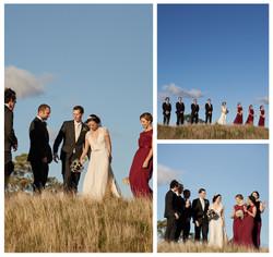 bridal party at park setting
