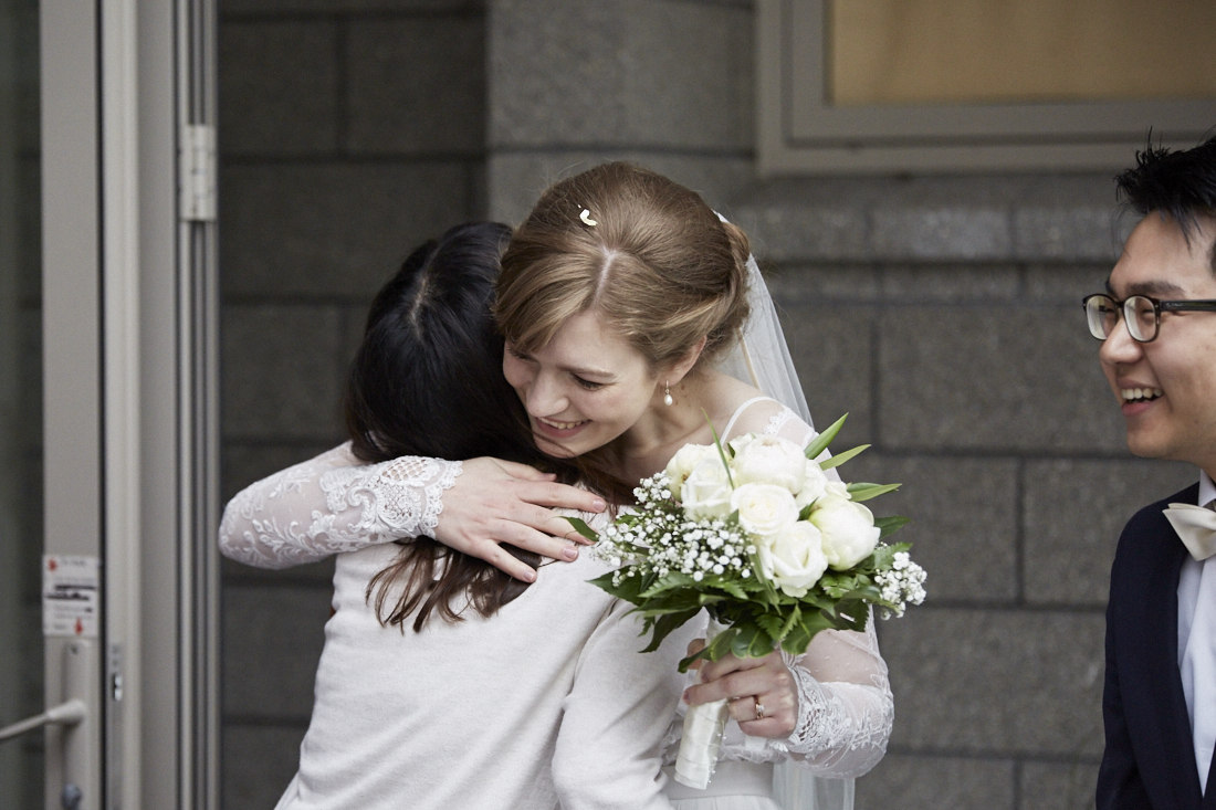 bride gets congratulated