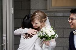 bride gets congratulated