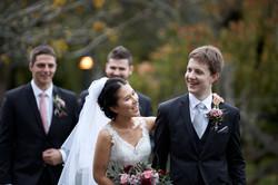 Candid wedding shot of newlyweds