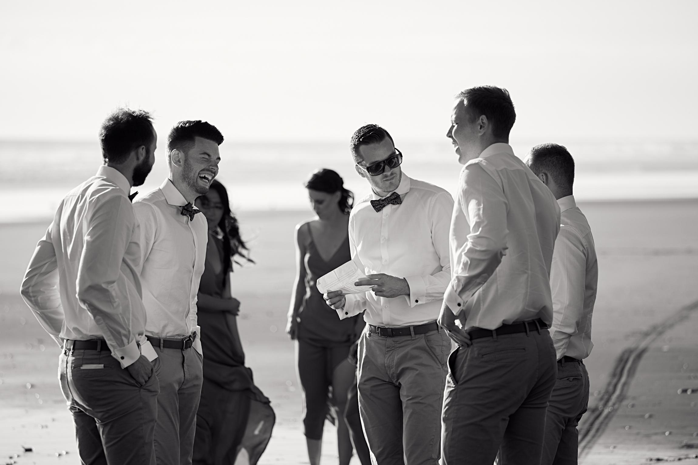 bridal party at beach