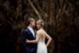 Bride and groom in a forrest