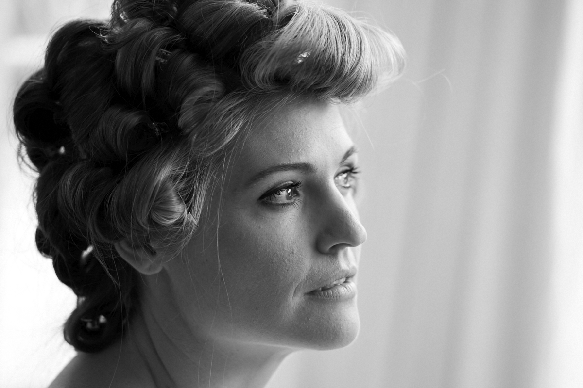 Stunning bride with hair up