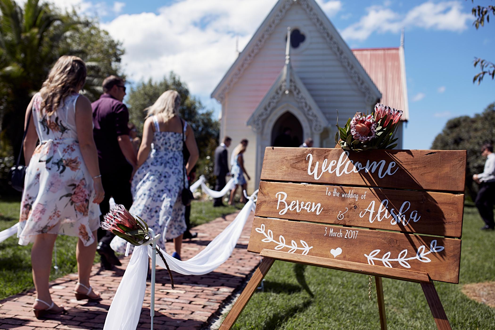 church wedding at Matakana