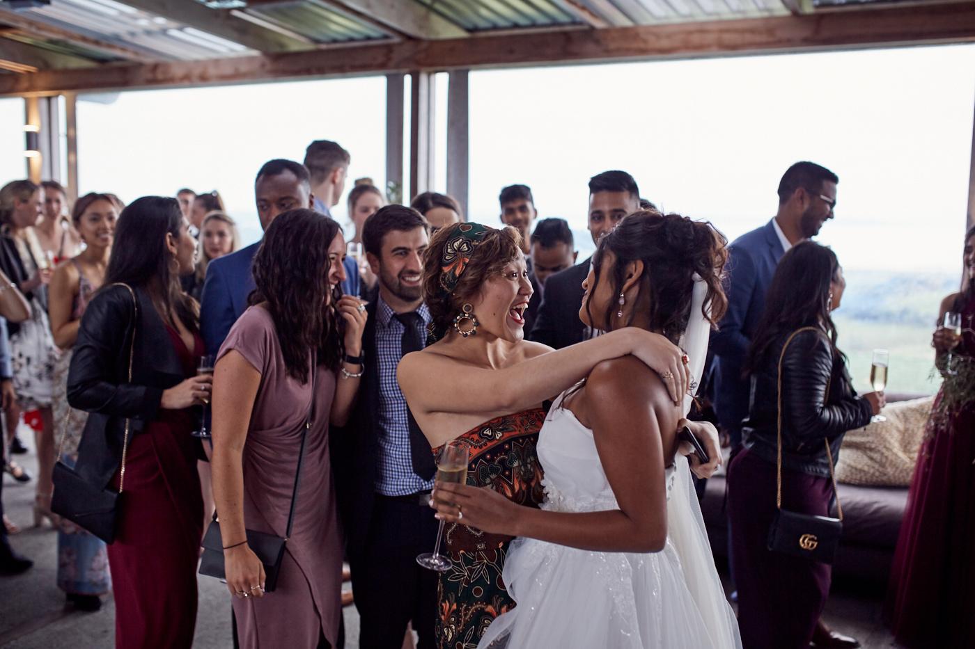 Guest congratulates the bride