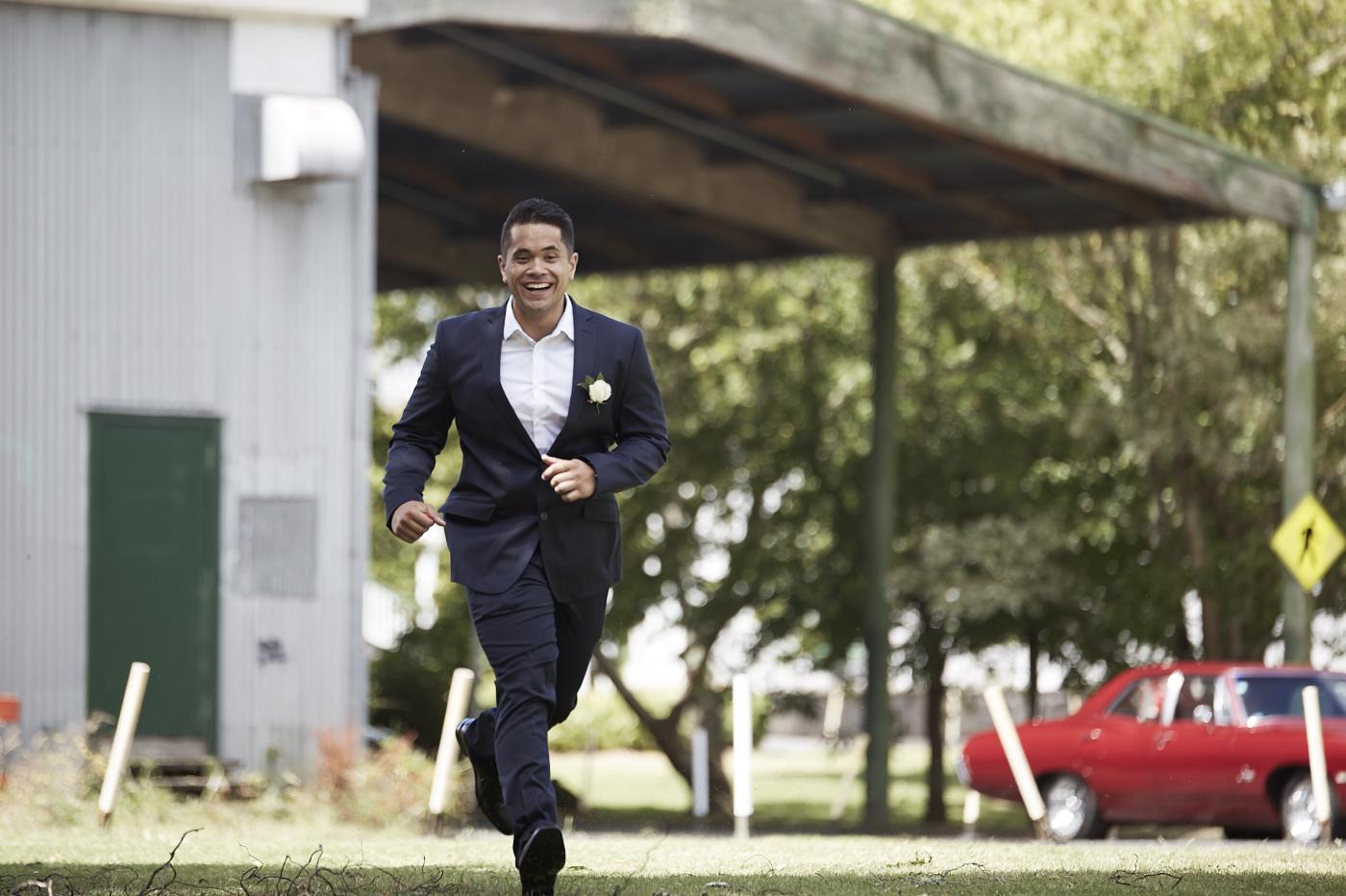 the running groom