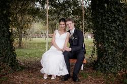 Newlyweds on a swing at Markovina
