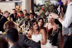 Candid wedding photo of bride