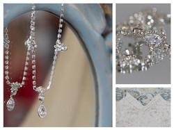 Wedding jewellery on a mirror