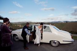 Bride arrives in a Jaguar