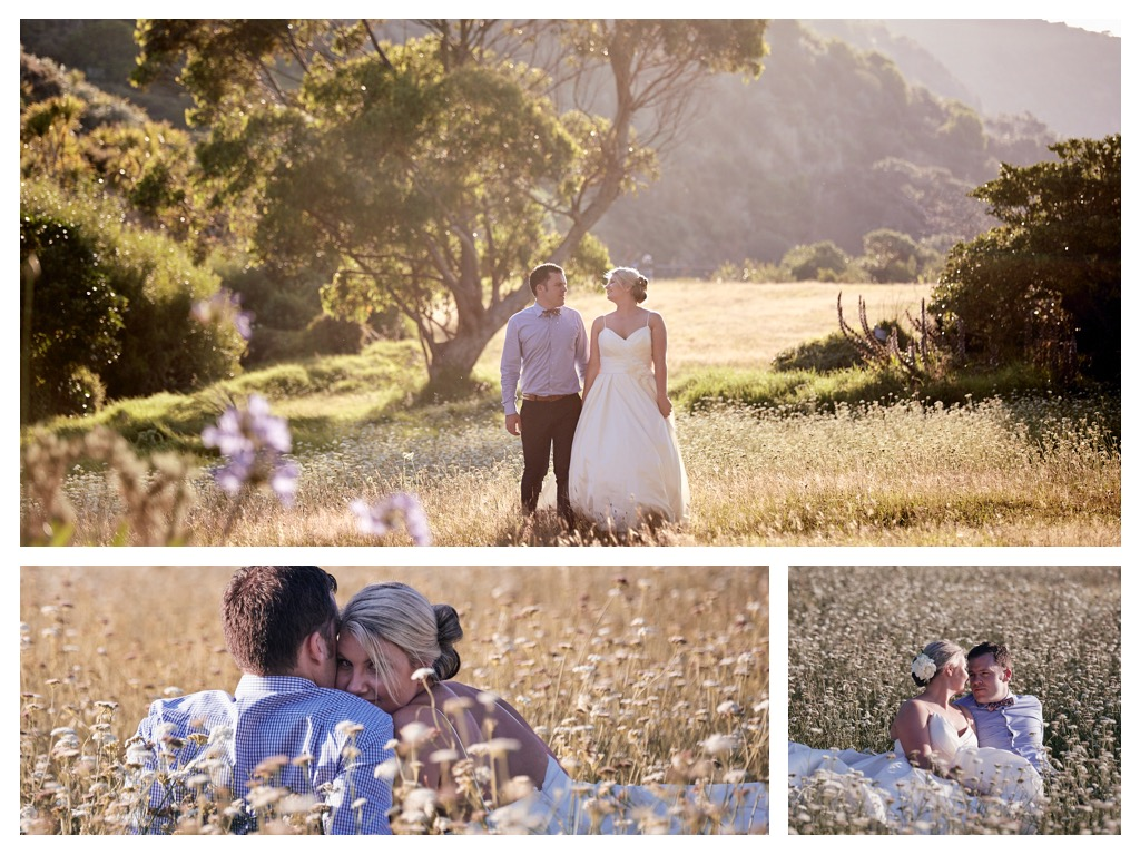 Couple in sunny field