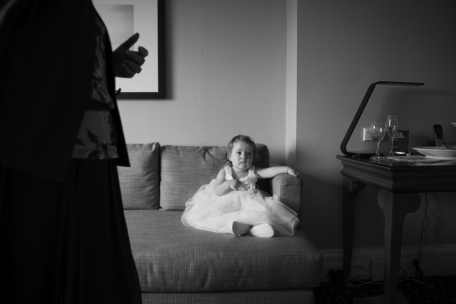 Flower girl on couch