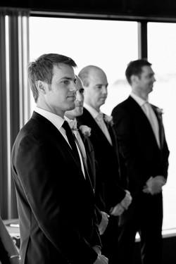 Groom awaits his bride