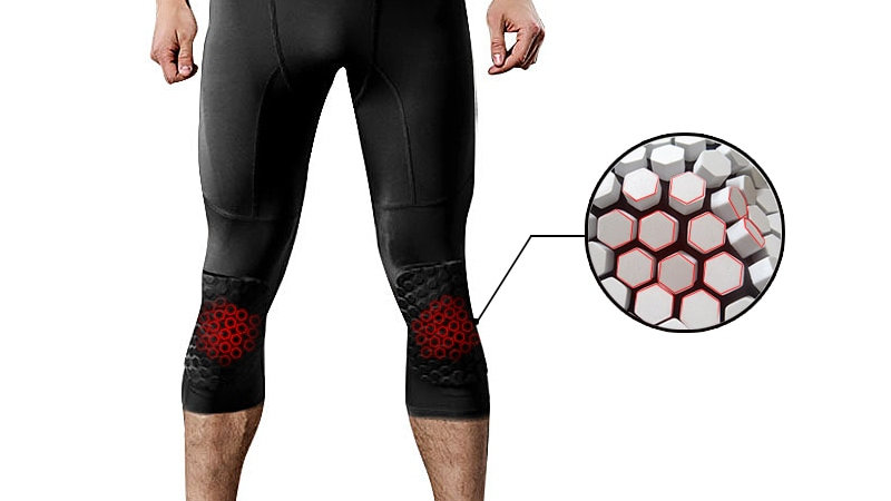Safety Anti-Collision Basketball Shorts Men Fitness Training 3/4 Leggings