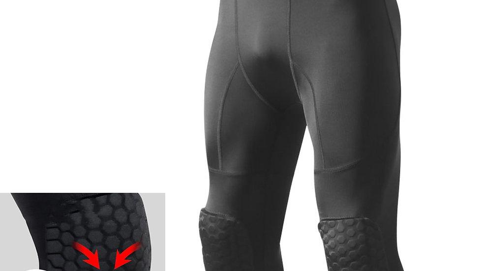 Men's Safety Anti-Collision Pants Basketball Training 3/4 Tights Leggings