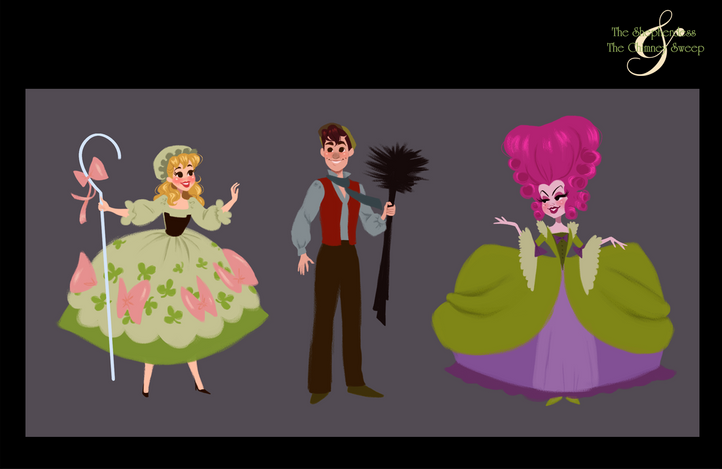 The Shepherdess & The Chimney Sweep Vis Dev Project - Character Lineup