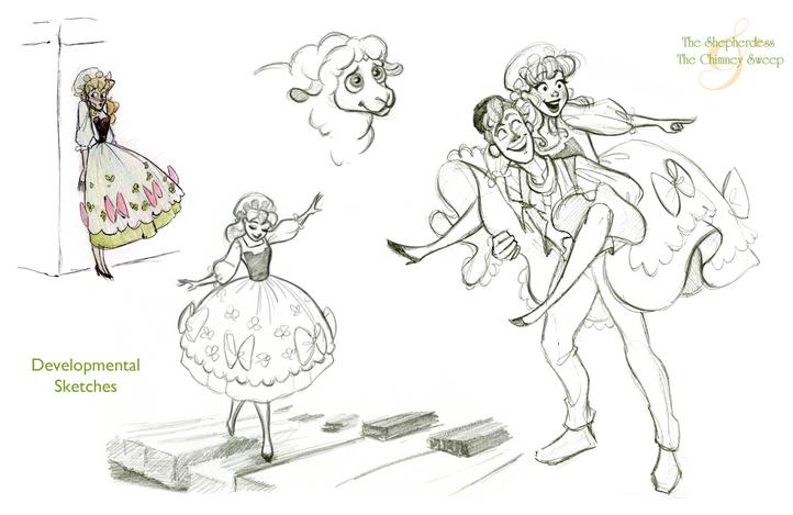 The Shepherdess & The Chimney Sweep Vis Dev Project - Developmental Sketches