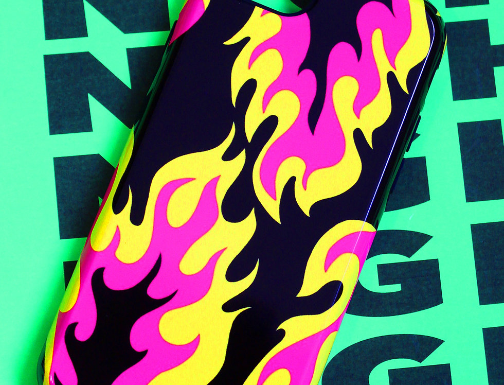 FLAME PHONE CASE- blk/pnk/ylw