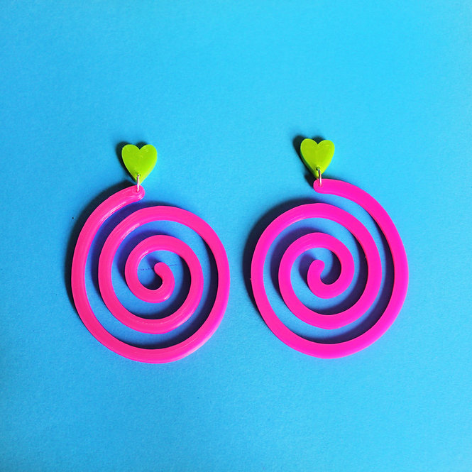 PINK SWIRL GREEN HEART *ECO* EARRINGS