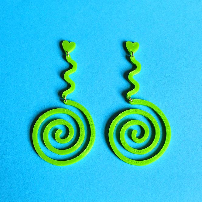 LIME GREEN WIGGLY *ECO* EARRINGS