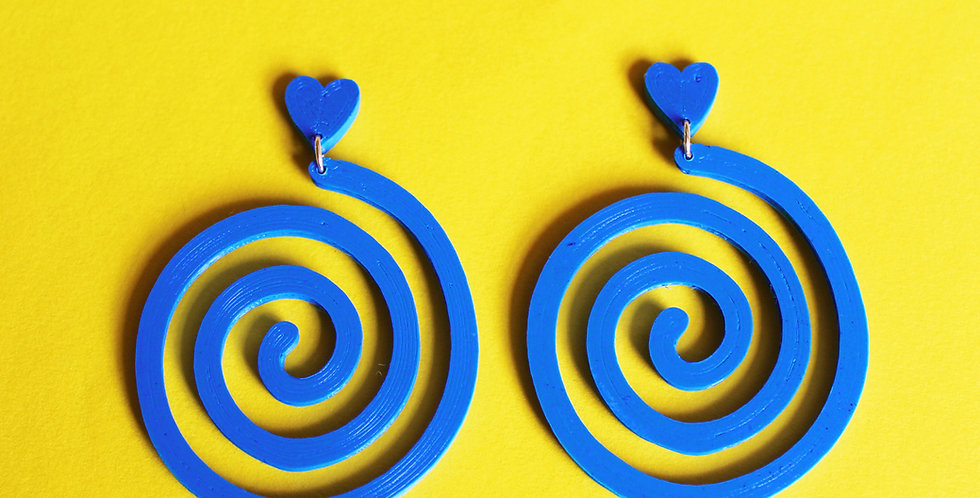 BLUE HEART SWIRL *ECO* EARRINGS