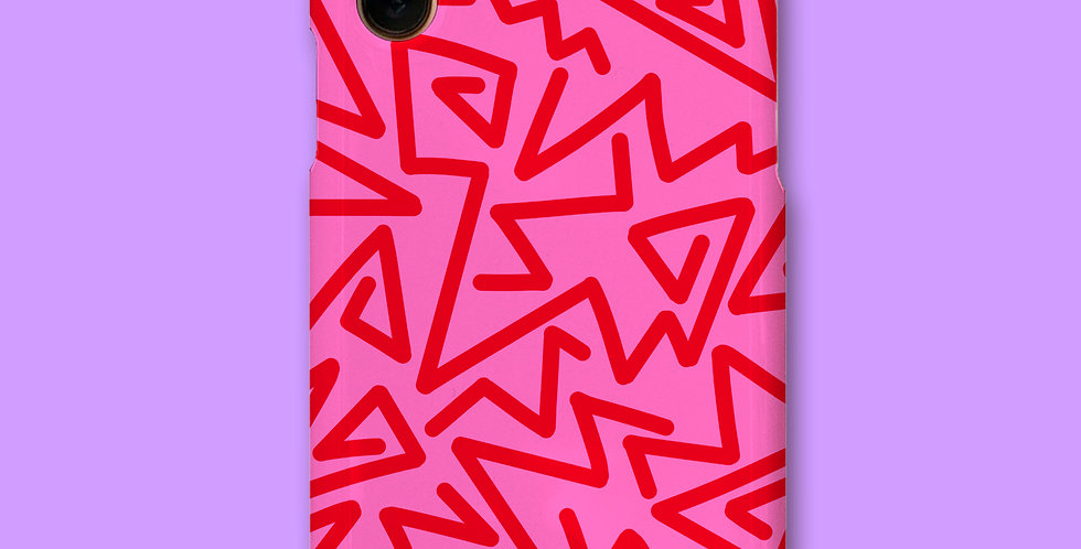 ZIGZAG PHONE CASE - PINK/RED