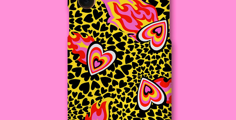 FLAMING HEART PHONE CASE