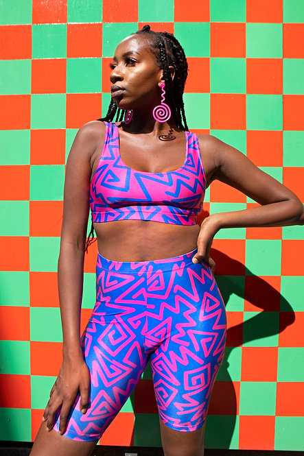 BLUE/PINK ZIGZAG CYCLE SHORTS