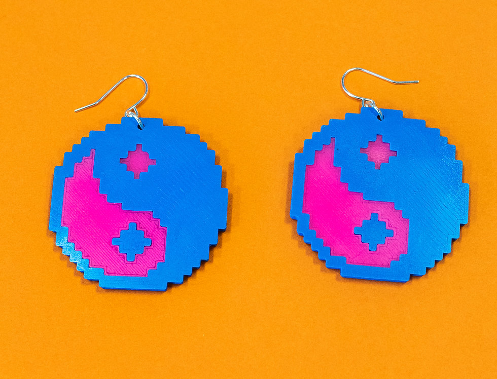 YIN YANG  *ECO* EARRINGS - BLU/PNK