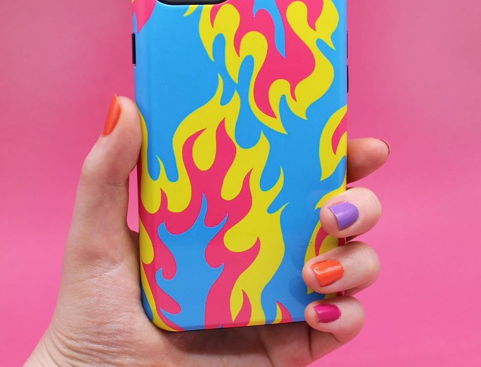 FLAME PHONE CASE- blue