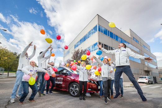 Celebrating electric car test