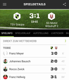 Teambro-Kreispokal 2. Runde: TSV Graupa - SG Motor Wilsdruff 2 3:1 (2:0)