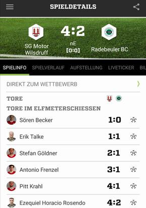 Wernersgrüner Sachsenpokal Runde 3: SG Motor Wilsdruff - Radebeuler BC 4:2 n.E. (0:0)