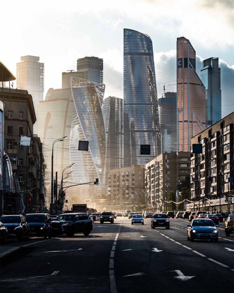 Architektonische Kontraste in Moskau
