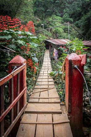 Brücke zu einem Camp