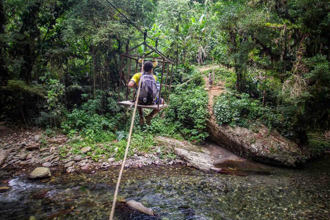 Flussüberquerung per Seilzug