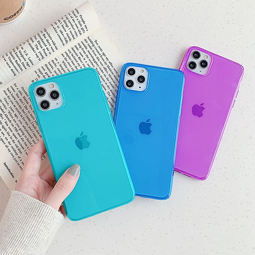 Neon Fluorescent Solid Green, Blue and Pink Color Phone Case for iPhone 11 Pro Max XR X XS Max 7 Case