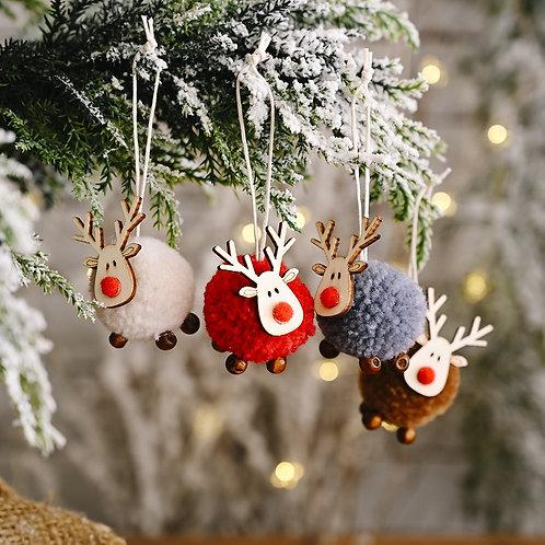 Cute Felt Wooden Elk Christmas Tree Decoration Hanging Pendant Deer of Year 2021