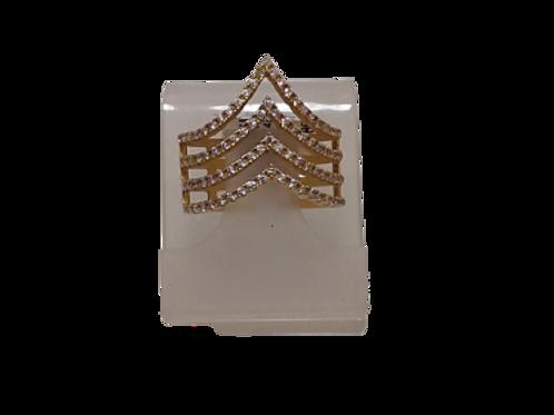 Anel Geométrico de Ouro 18k e Pedra Corindo