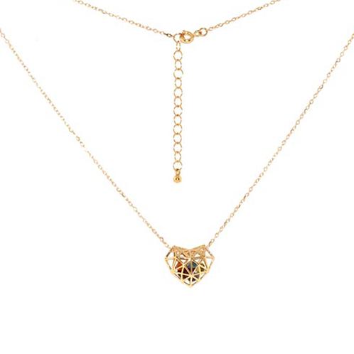 Gargantilha de Ouro Amarelo 18k Coração Vazado com Pedras