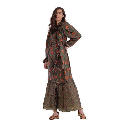 Vestido Zinco Midi Decote V Com Faixa Militar