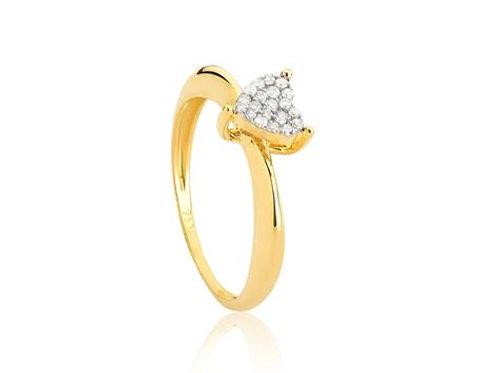 Anel de Ouro18k Coração Pavê de Diamantes Rodinados Coleção Cuore