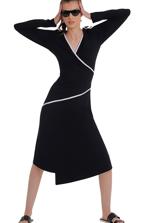 Vestido Zinco Midi Decote V Detalhe Viés Preto