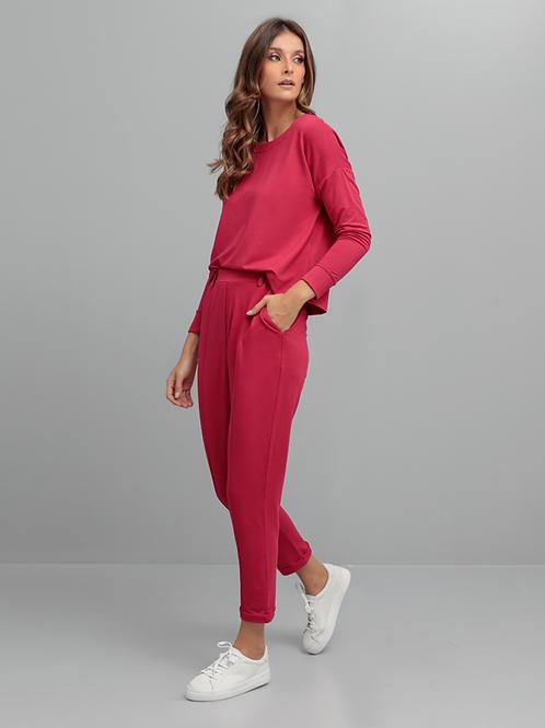 Calça Friso Frente Feminina Rosa Escuro