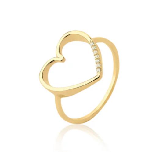Anel de Ouro 10k Coração Vazado Grande Com Zircônias