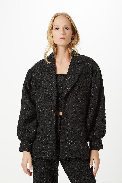Casaco Mangas Tweed Preto