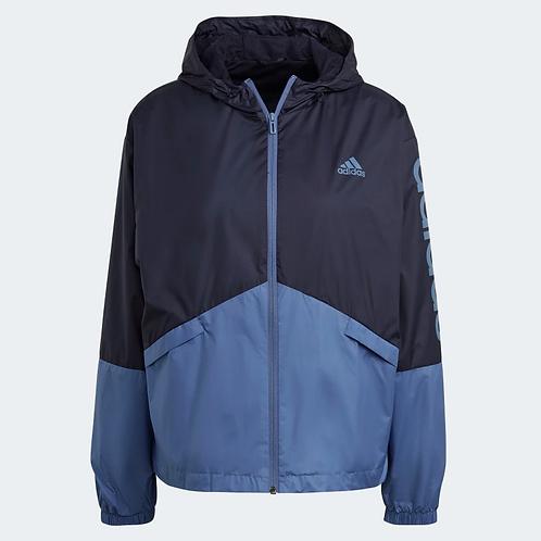 Jaqueta Adidas Corta-Vento Essentials Oversize Azul Feminina