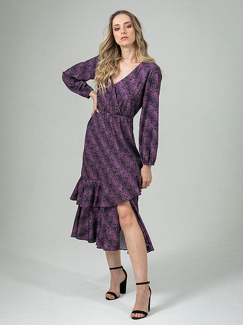 Vestido de Crepe Estampado Com Babados