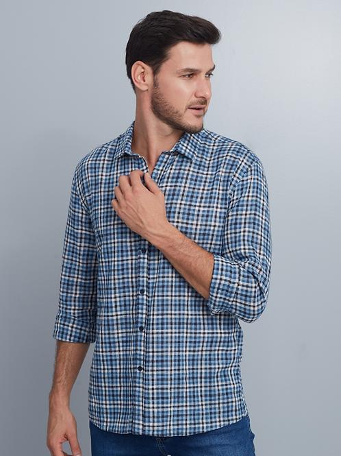 Camisa Casual Slim Masculina Xadrez