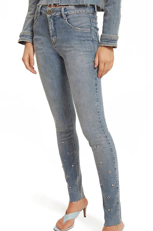 Calça Morena Rosa Skinny Andreia Cós Intermediário Detalhe Tachas Jeans